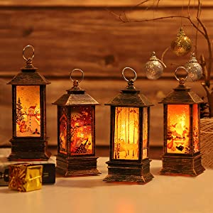 Christmas Lanterns Decorative Christmas Tree Home Decoration Lantern,Waterproof Flashing Fairy Lights for Christmas Tree Garden Bedroom Parties(4 PCS)