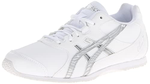 697a063e48b0 Asics Cheer 7 GS Kids Cheer Shoe 1 White-Silver-Interchange  Amazon ...