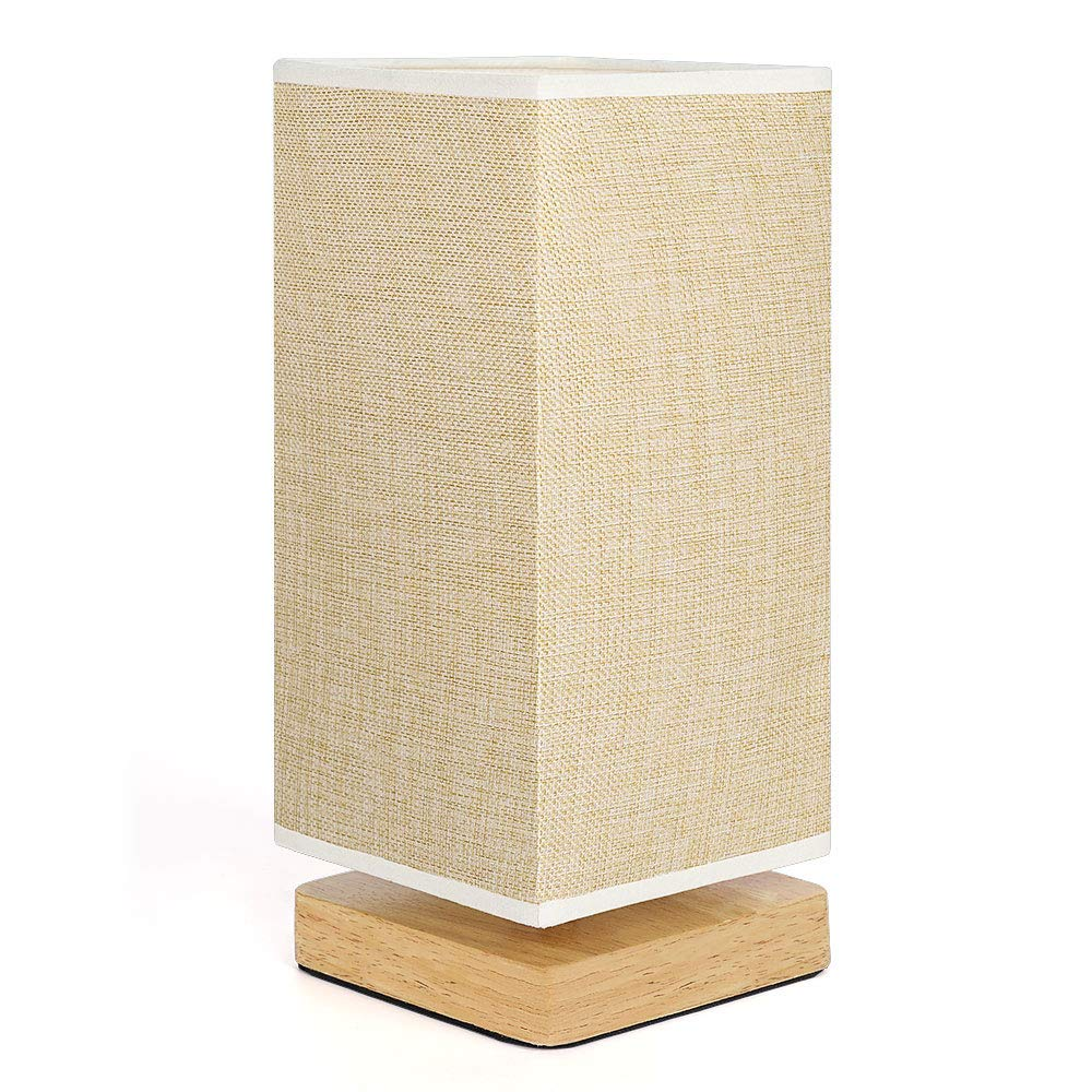 Bedside Table Lamp, Minimalist Solid Wood Desk Lamps, Night Stand Lamp with Square Flaxen Fabric Shade for Bedroom, Living Room, College Dorm