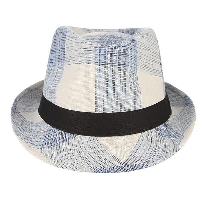 ea03e1b8 Mens Sun Hat Summer Wide Brim Plaid Fedoras Bowler Cap at Amazon Men's  Clothing store: