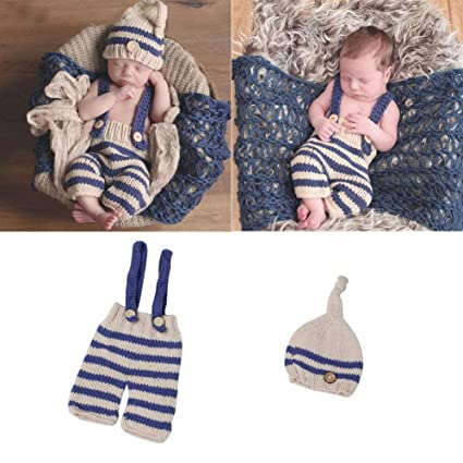 Newborn Baby Photography Props Infant Knit Crochet Costume Striped Soft Outfits Reputation First Hats & Caps Mother & Kids