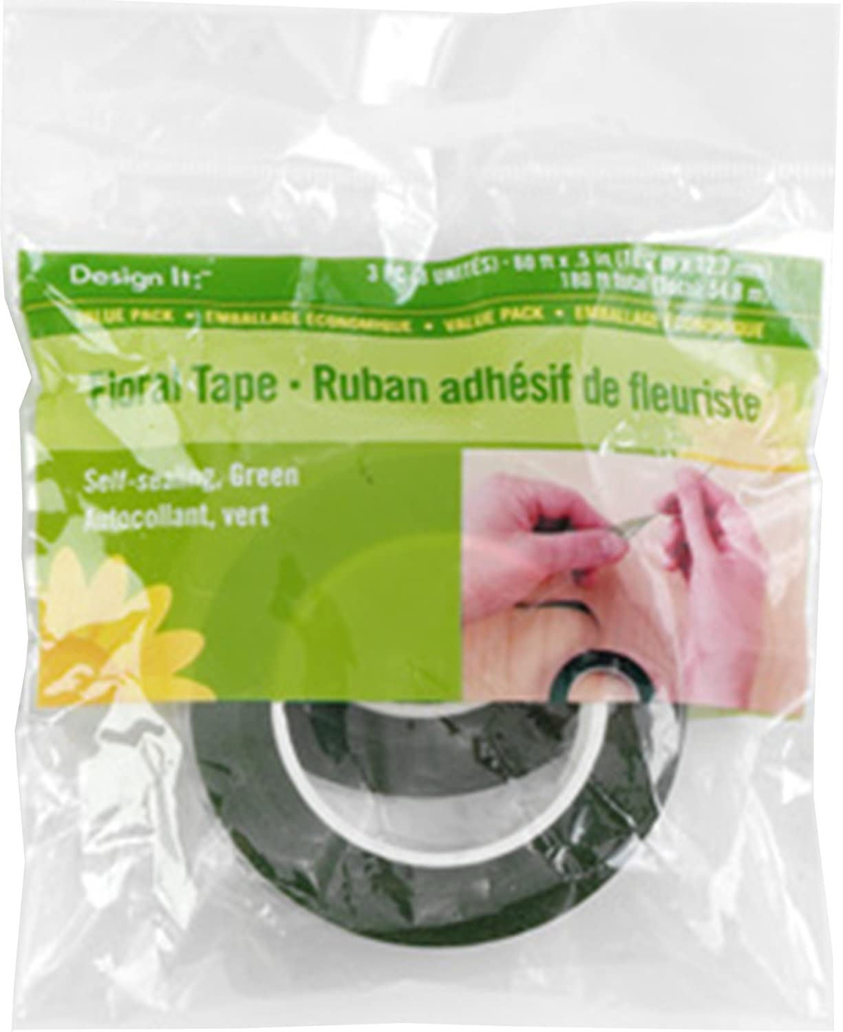 FloraCraft Floral Tape, 60-Feet by 1/2-Inch, Green - (3 Roll Pack) RS9649/12/3