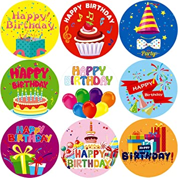 Fancy Land Happy Birthday Stickers for Kids 200Pcs Per Roll Party Supplies School