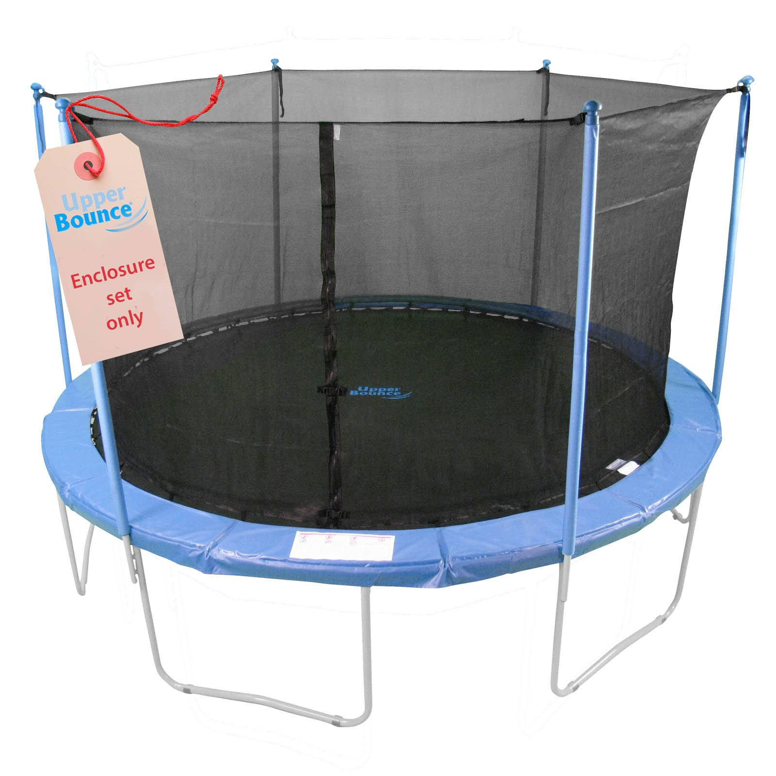 Upper Bounce Trampoline Enclosure Set, to fit 14 FT. Round Frames, for 3 or 6 W-Shaped Legs -Set Includes: Net, Poles & Hardware Only by Upper Bounce