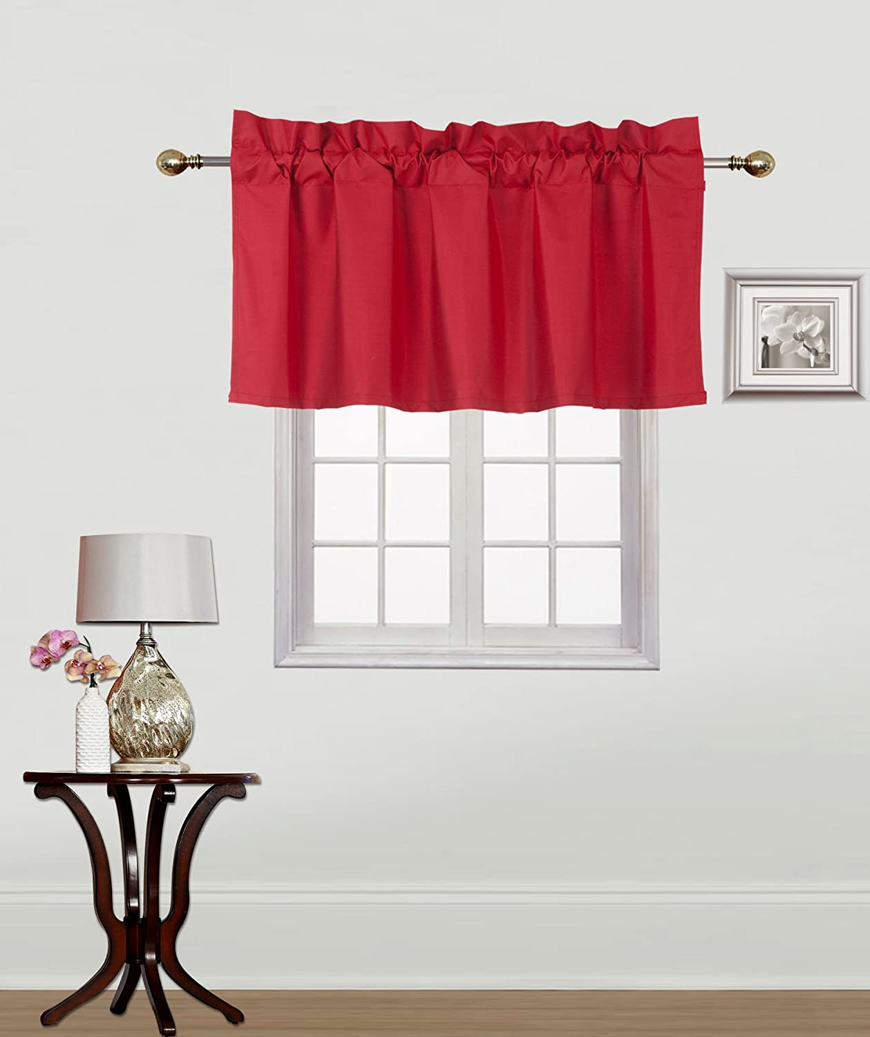 """Gorgeous Home Linen 1PC Rod Pocket Solid Lined Foam Backing Blackout Window Curtain Panel Treatment Drape Smooth Touch (RED, RS9 Valance 38""""X18"""")"""