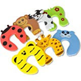 STARVAST Door Stopper, 7Pcs Child Safety Animal Cushion Hinge Door Stop/Decorative Rubber Cat Finger Protector/Pinch Finger Guard Security