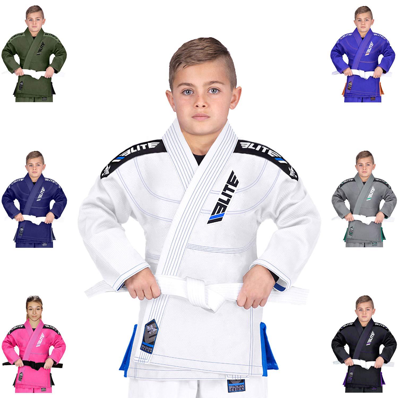 Elite Sports Ibjjf Ultra Light Bjj Brazilian Jiu Jitsu Gi for Kids with Preshrunk Fabric and Free Belt C1, White by Elite Sports