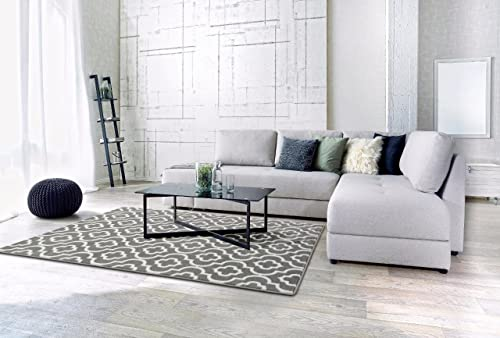 3028-Dark-Gray-Moroccan-Trellis-5'2x7'2-Area-Rug-Carpet-Large-New