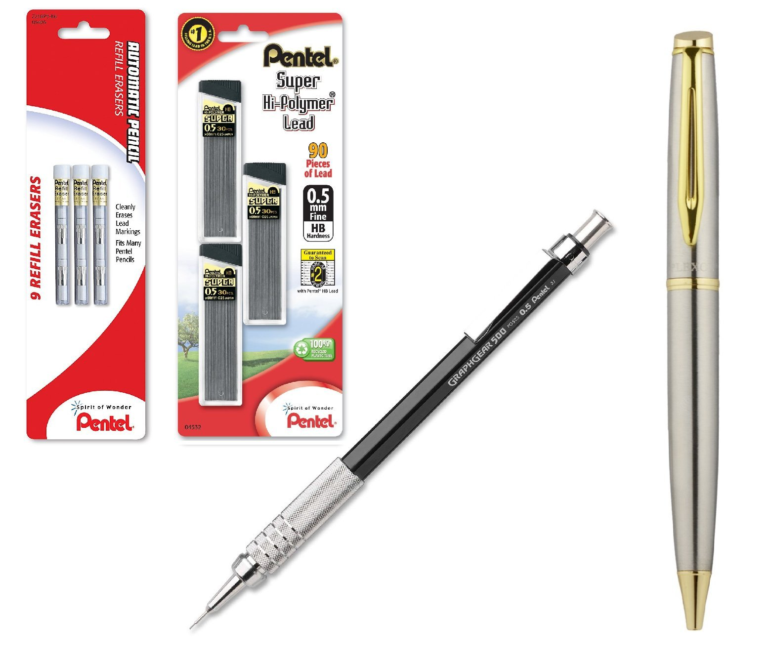 Pentel GraphGear 500 Automatic Drafting Pencil Black with .5mm Lead Refils and Z21 Eraser Refills (Bundle)