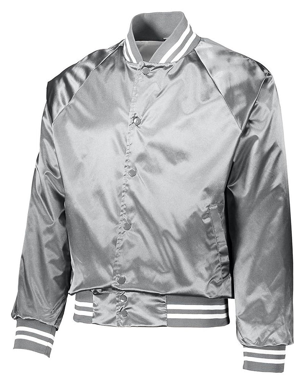 Augusta Sportswear メンズサテン野球ジャケット/ストライプ柄。 B0776R2RM6Metallic Silver/White XS