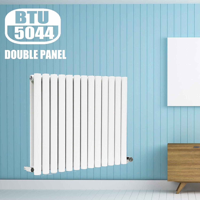 Horizontal Radiators White 600 x 1180mm Oval Column Heater Single Panel Designer Modern Central Heating for Home Bathroom Radiator