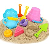 Beach Toys Set Sand Toys for Kids, 9-Piece with Shovels Bucket in Reusable Zippered Bag, More Durable