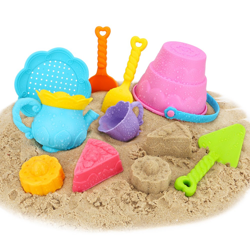 Newisland Beach Toys Sand Toys Set for Kids, 9-Piece with Shovels Bucket in Reusable Zippered Bag, More Durable (9 PCS Beach Toy Set)