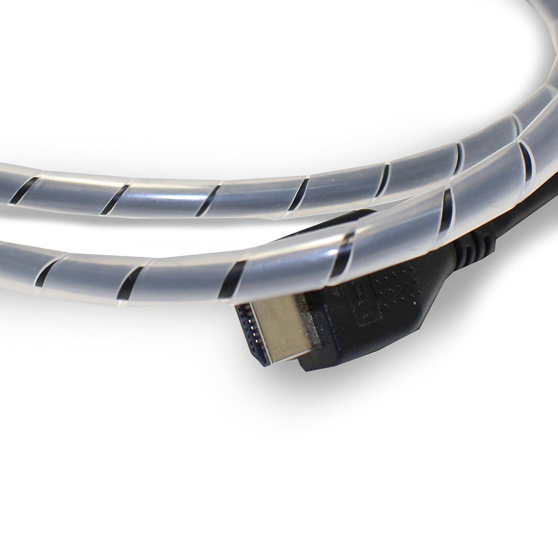 flexowire cavo a spirale a spirale Tubo 10m 6–60mm cavo tubo flessibile con fascio weite a Unire cavi ad esempio al computer, TV, Impianto Hi-Fi trasparente 6-60 Ubuq