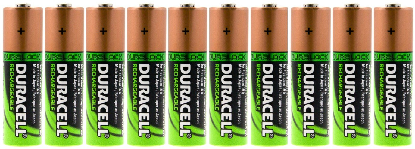 10 Duracell AA Batteries Rechargeable NiMH 2450mAh + FREE BATTERY HOLDER