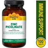 Country Life Zinc Picolinate, 100 Tabs 25 mg