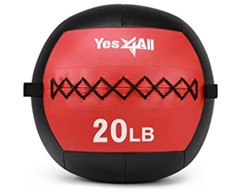 Yes4All Wall Ball balón Medicinal (20 kg - Fácil Agarre con ...