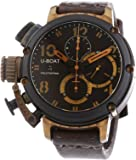 U Boat 6946 Men's Chimera Black and Bronze Automatic Watch with Brown Dial Chronograph Display and Brown Leather Strap