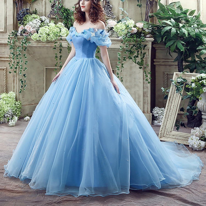 Amazon.com: UTAMALL Cinderella Fluffy Chiffon Tulle Wedding Dress ...
