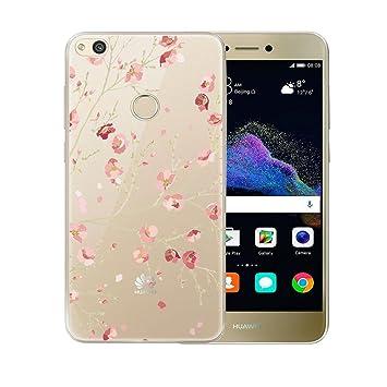 P8 Lite 2017 / Honor 8 Lite Carcasa , YIGA Moda Flores De Color Rosa Transparente TPU Gel Cubierta De Silicona Suave Funda Tapa Case Cover para Huawei ...