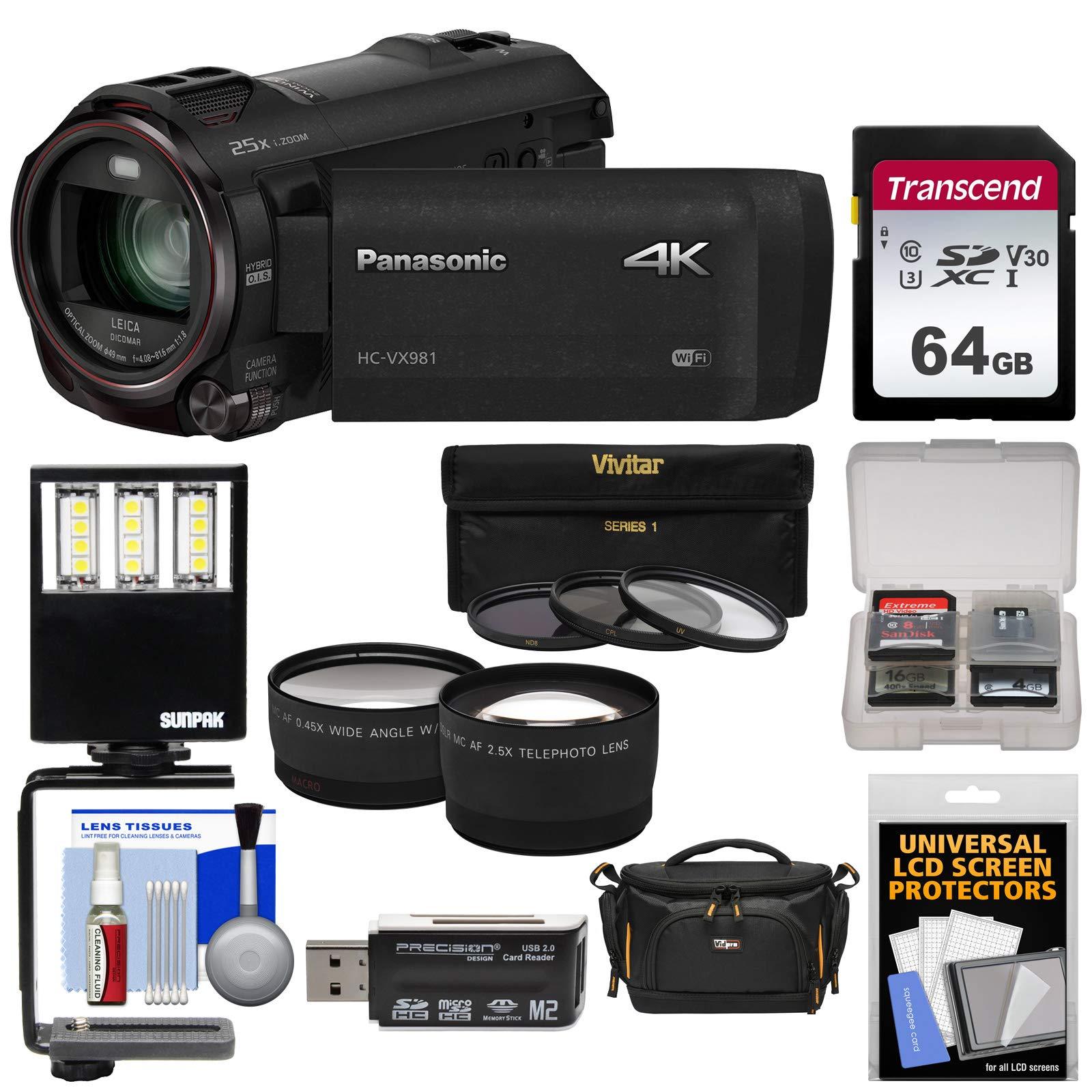 Panasonic HC-VX981 Wi-Fi 4K Ultra HD Video Camera Camcorder with 64GB Card + Case + LED Light + 3 Filters + Tele/Wide Lens Kit by Panasonic