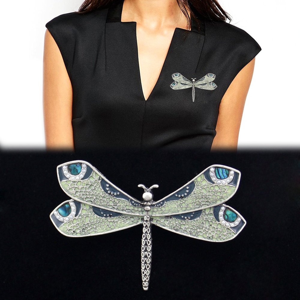 Vintage Style Jewelry, Retro Jewelry Q&Q Fashion Retro Art Nouveau Victorian Dragonfly Simulated - Pearl Wing French Lapel Brooch Pin Badge $6.49 AT vintagedancer.com