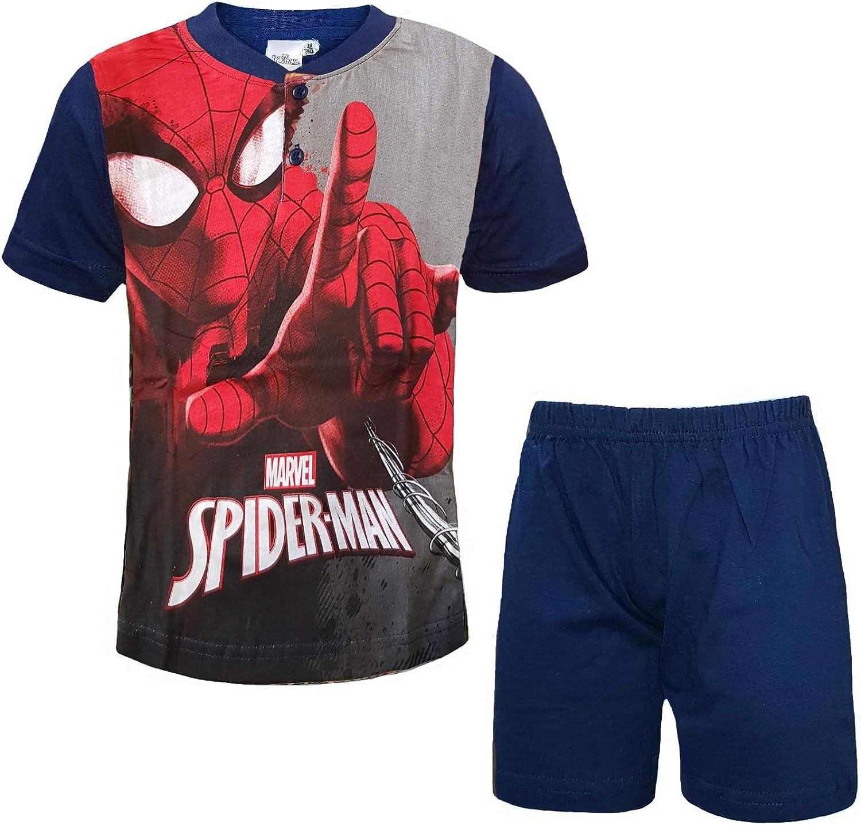 2 Pigiami Bambino Corto Mezza Manica in Cotone Spiderman Marvel Art 413-414