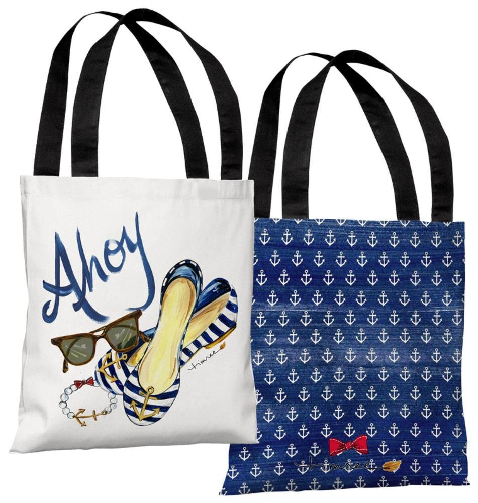 One Bella Casa 73691TT18P 18 in Ahoy Shoes Polyester Tote Bag by Timree Gold44; Multi Color