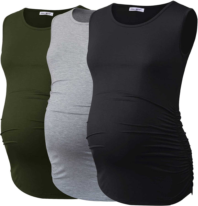 Smallshow Mujer Camisetas sin Mangas Tops de Maternidad Ropa Embarazada con Fruncido Lateral 3-Pack: Amazon.es: Ropa y accesorios