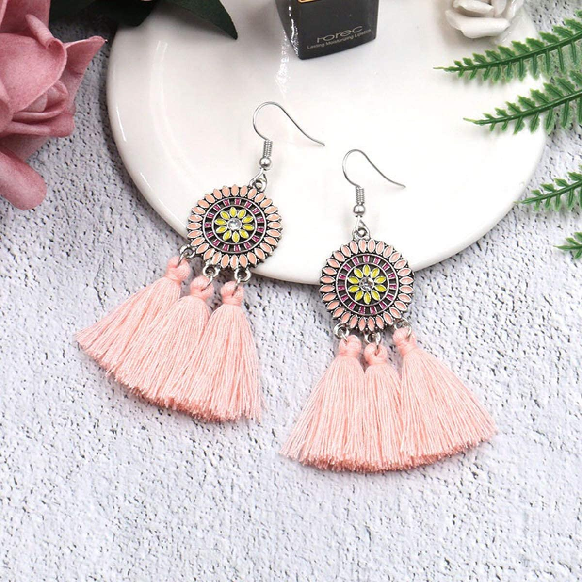 LANTAI 8-12 Pairs Bohemian Tassel Earrings-Colorful Hoop Fringe Layerd Dangling Tassel Earrings for Women Girls Gift Statement Earrings