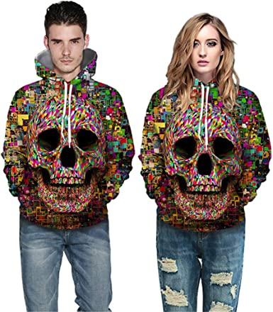 Men/'s Hip-Hop Skull Mask Crewneck Hoodie Top Sweatshirt Streetwear Pullover Tops