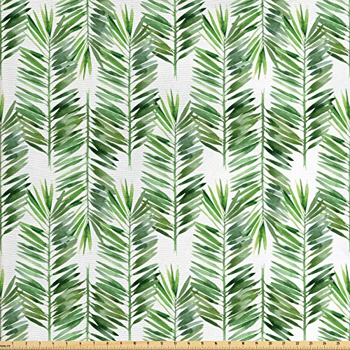 Ambesonne Palm Tree Decor Fabric by The Yard, Watercolor Tropical Tree Branch Evergreen Leaf Featured Artsy Plant Lush Design, Decorative Fabric for Upholstery and Home Accents, Green