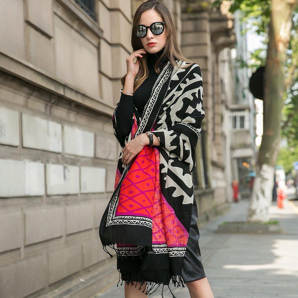 DANA XU 100% Pure Wool Women Winter Large Size Pashmina Travel Shawl (Red) by DANA XU (Image #2)