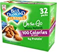 Blue Diamond Almonds Whole Natural Raw Almonds 100 Calorie On-The-Go Bags, 32 Count