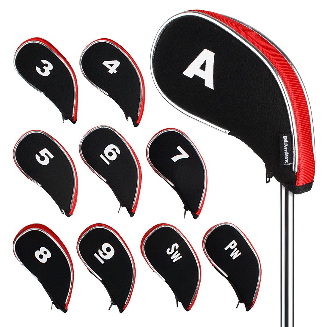 Andux新しいデザインゴルフアイアンヘッドカバーファスナー付き10個/セットMT / yb02ブラック/レッド   B00HBM3GYM