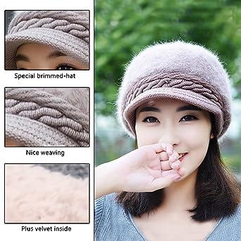 Sombreros de punto de invierno - boina de color sólido sombreros de lana  suave de punto caliente con visera para mujeres  Amazon.es  Ropa y  accesorios d9c1dadcccf