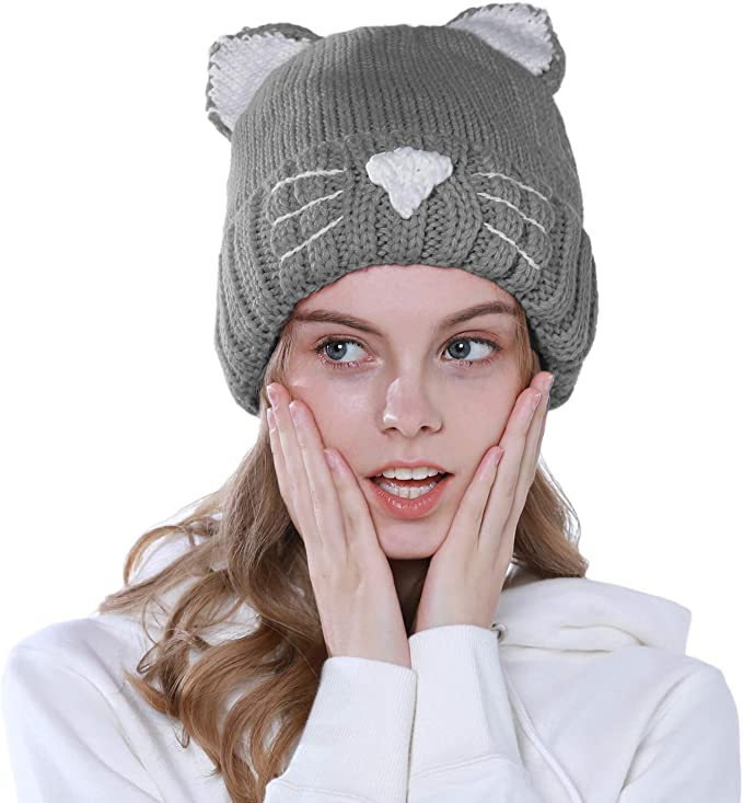 vamei Sombrero de Mujer Gato Oreja Ganchillo Trenzado de Punto ...
