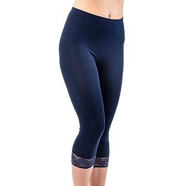 6b85efb451dfec HERMKO 5722 Damen Capri-Leggings mit Spitze, Farbe:marine, Größe:36 ...