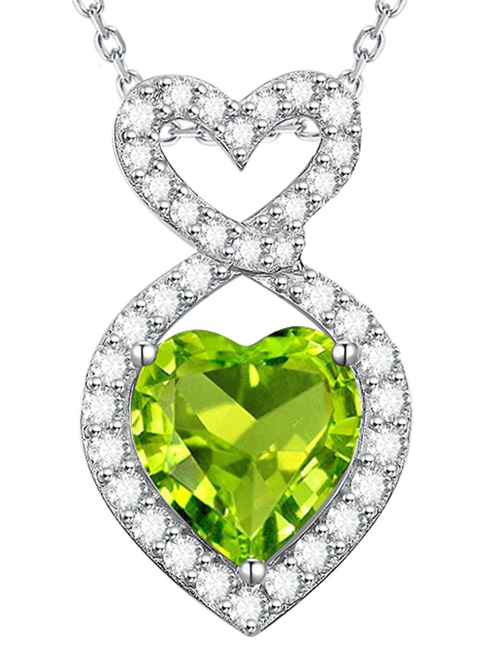 Green Peridot August Birthstone Necklace Love Heart Infinity Jewelry Birthday Anniversary Gift for Women Sterling Silver Swarovski Pendant -20''Chain