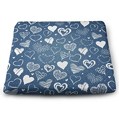 Tinmun Square Cushion, Denim Hearts Pattern Jeans Amour Large Pouf Floor Pillow Cushion for Home Decor Garden Party: Home & Kitchen