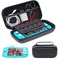 Carrying Case Compatible with Nintendo Switch Lite Case with Tempered Glass Screen Protector(2 Pack), 10 Games Card…