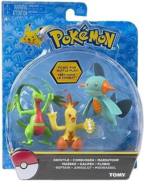 TOMY Pokemon Action Pose Grovyle, Combusken & Marshtomp 3 Pulgadas ...
