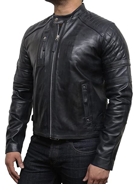 Brandslock hombre chaqueta de cuero de moto vaca real hide designer look: Amazon.es: Ropa y accesorios