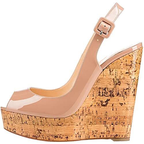 e26a8573235b1 MERUMOTE Women s lymoys Wedge Heel Peep Toe Platform Buckles Wedding  Sandals for Party