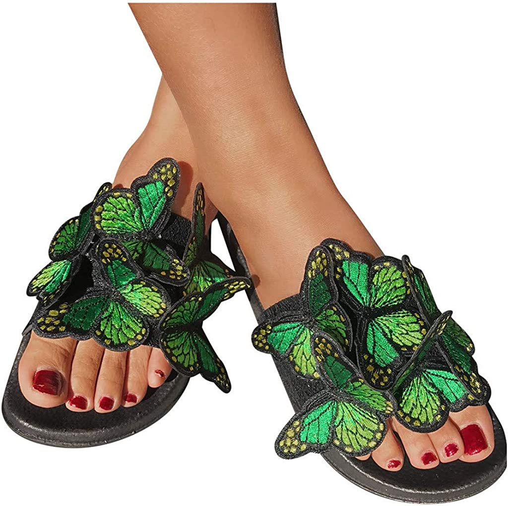 BeaYoo Womens Butterfly Toe Ring Sandals Flat Summer Slip On Slipper Sliders Shoes Size