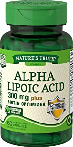 Nature's Truth Alpha Lipoic Acid Plus Biotin Capsules, 60 Count