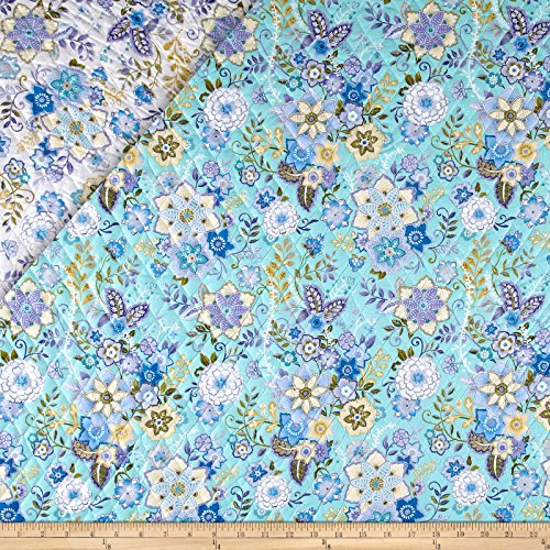 Mayfair Double Sided Quilted Floral Lavender/Turquoise Fabric By The - By Pre-quilted The Yard Fabric