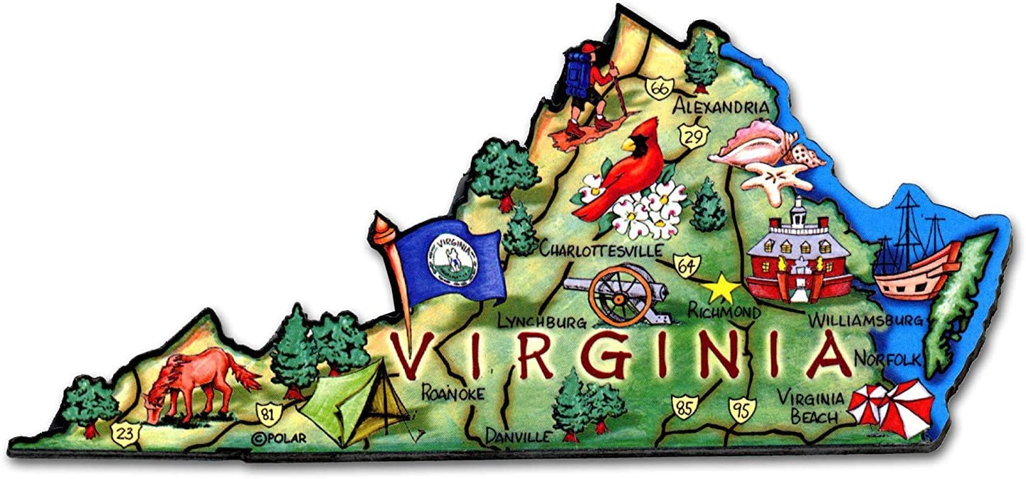Virginia the Old Dominion State Artwood Jumbo Fridge Magnet