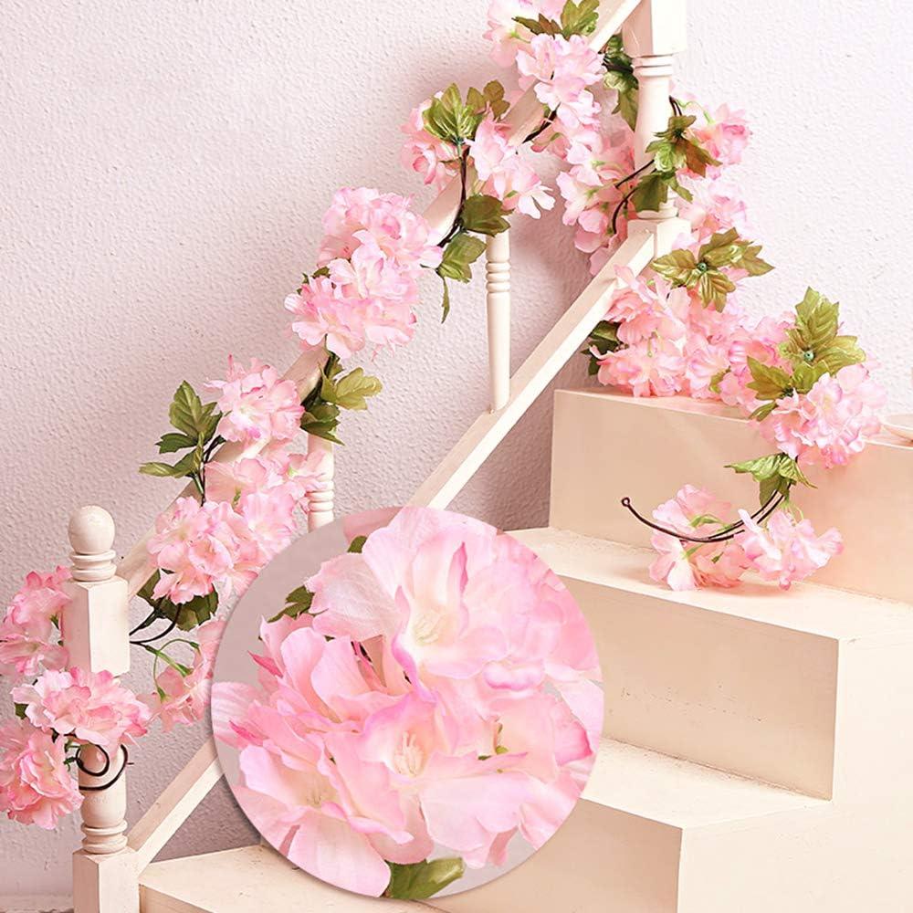 MZMing 2piezasx235cm Flores de Cerezo Artificiales Colgante Vines Guirnaldas de de Simulación Planta Flor Vid Hojas para Familiar la Fiesta Jardín Valla Boda de Navidad Decoración-Rosa