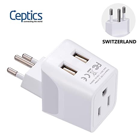 Switzerland Travel Adapter Plug by Ceptics with Dual USB + Usa Input - Type  J - Ultra Compact - Safe Grounded for Laptops, Cell Phones, Chargers,